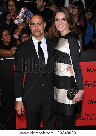 LOS ANGELES - NOV 18:  Stanley Tucci & Felicity Blunt arrives to the