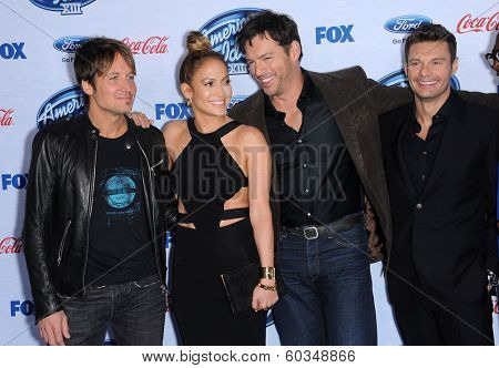 LOS ANGELES - FEB 20:  Keith Urban, Jennifer Lopez, Harry Connick Jr. & Ryan Seacrest arrives to the American Idol Top 13 Finalists  on February 20, 2014 in West Hollywood, CA