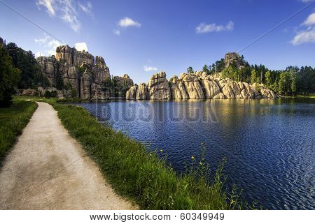 A burst of sunlight, Sylvan Lake, Black Hills national forest, South Dakota, USA