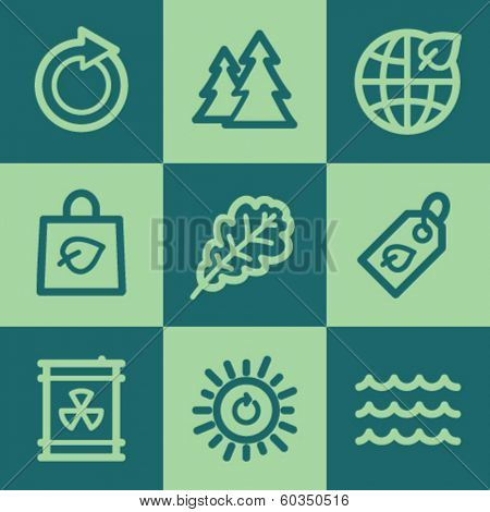 Ecology web icon set 3, green square buttons set