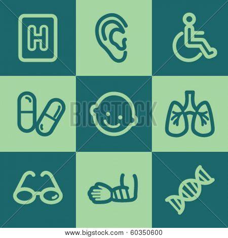 Medicine web icon set 2, green square buttons set