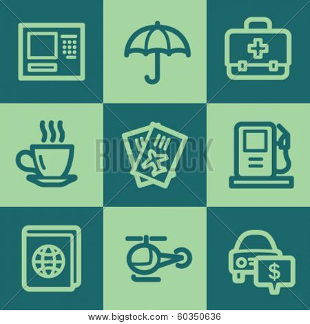 Travel web icon set 4, green square buttons set