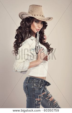 Beautiful Brunette Cowgirl.