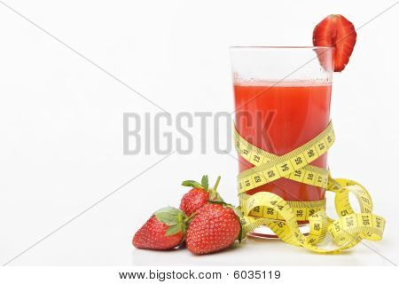 Strawberries And Juice With Measuring Tape