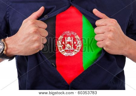 Young Sport Fan Opening His Shirt And Showing The Flag His Country Afghanistan, Afghan Flag