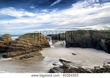 Famous Spanish destination, Cathedrals beach (playa de las catedrales) on Atlantic ocean