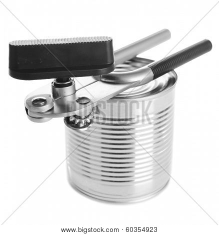Can piercer with canned isolated on white