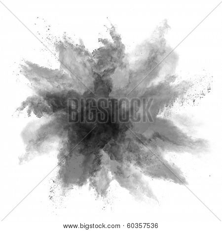 Freeze motion of black dust explosion isolated on white background