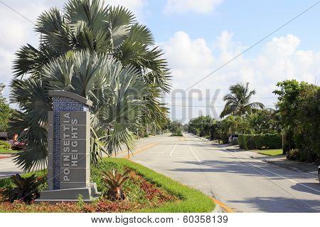 Poinsettia Heights Neighborhood Sign