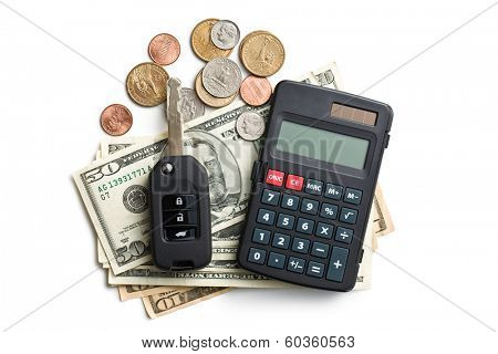 the car key with dollars and calculator