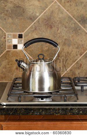 Stainless Steel Tea Pot On Range