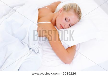 Blonde Beautiful Woman Sleeping