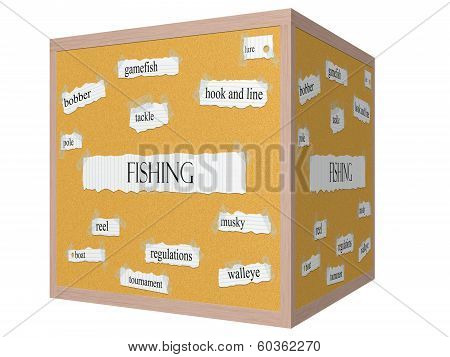 Fishing 3D Cube Corkboard Word Concept