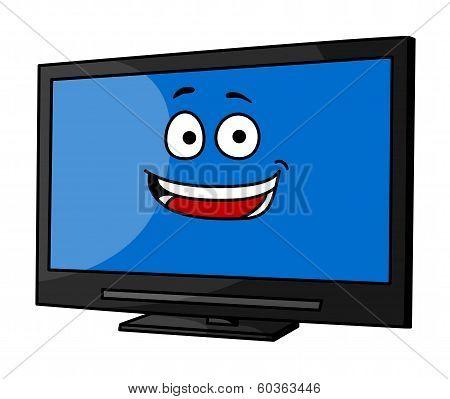 Cheeky smiling cartoon TV or monitor