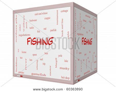 Fishing Word Cloud Concept On A 3D Cube Whiteboard