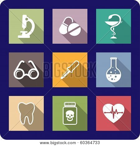 Flat medical and healthcare icons