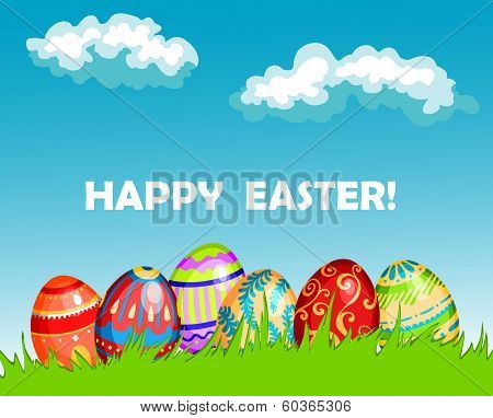 Colourful Happy Easter greeting card design