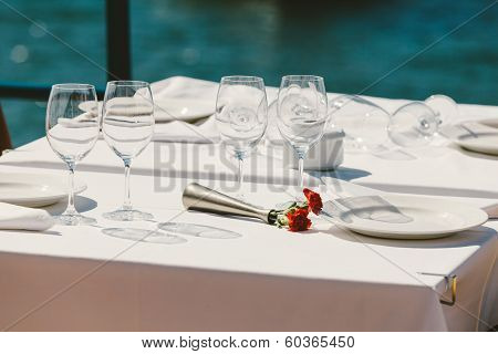 Table Setting In An Outdoor Restaurant