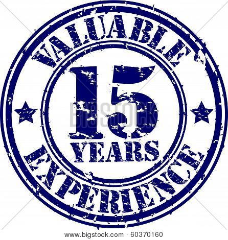 Valuable 15 years of experience rubber stamp, vector illustration