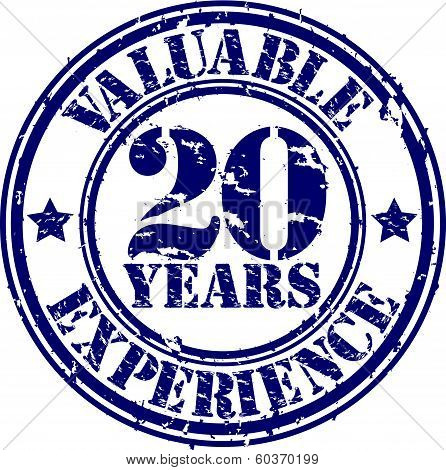 Valuable 20 years of experience rubber stamp, vector illustration