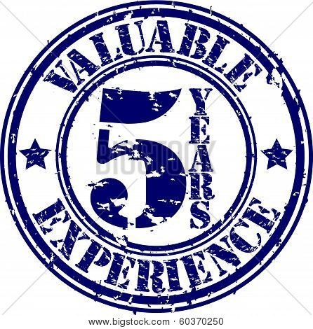 Valuable 5 years of experience rubber stamp, vector illustration