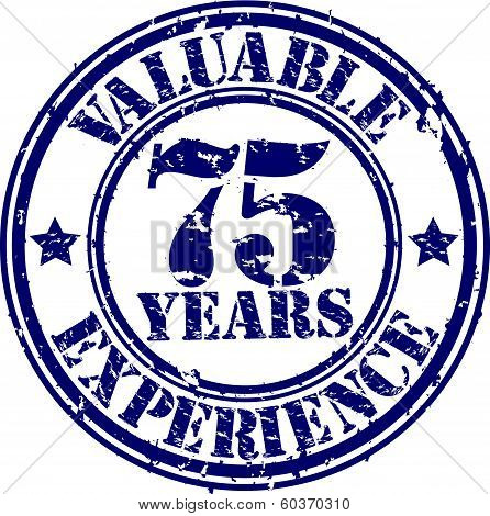 Valuable 75 years of experience rubber stamp, vector illustration
