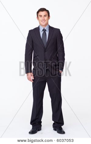 Smiling Fashion Businessman Against White