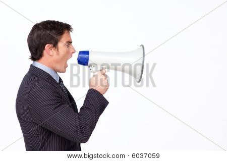 Businessman Shouting Through A Megaphone