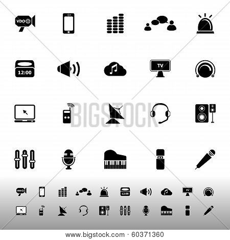 Sound Related Icons On White Background