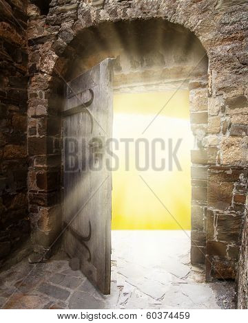 Old doors and bright light from haven