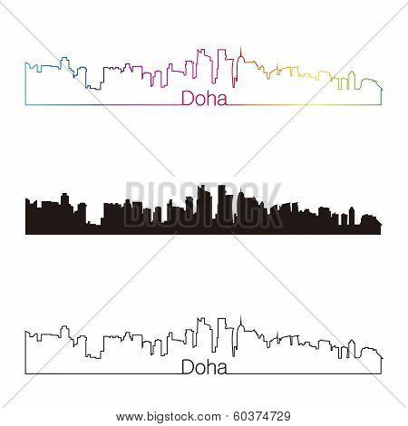Doha Skyline Linear Style With Rainbow