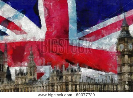 London Collage Painting