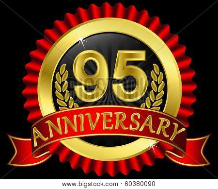 95 years anniversary golden label with ribbons, vector illustration