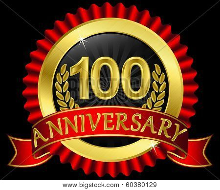 100 years anniversary golden label with ribbons, vector illustration