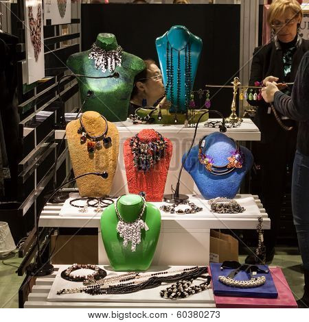 Necklaces On Display At Mipap Trade Show In Milan, Italy