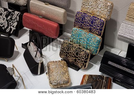 Elegant Bags On Display At Mipap Trade Show In Milan, Italy