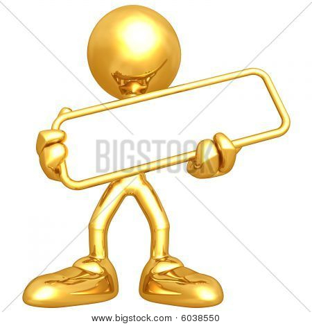 Mini Gold Guy Holding Blank Sign