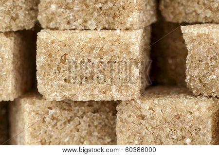 Brown Sugar Cubes Shown Closeup