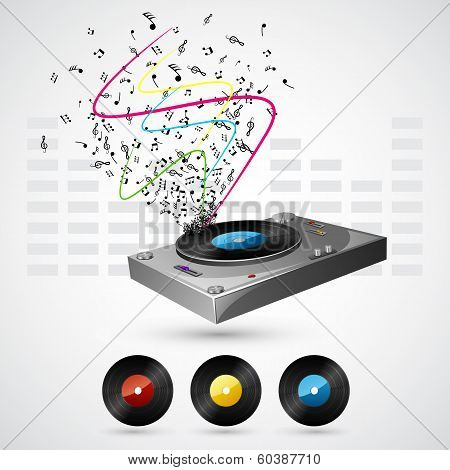 Musical Notes coming out of Turntable