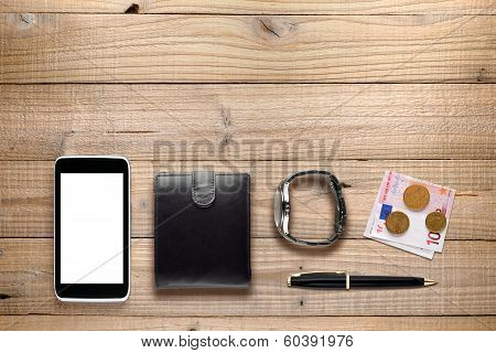 Personal Accessories On Wooden Background