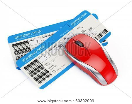 Airline tickets and computer mouse