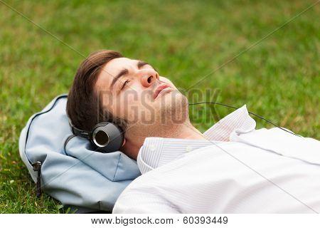 Man enjoying good music