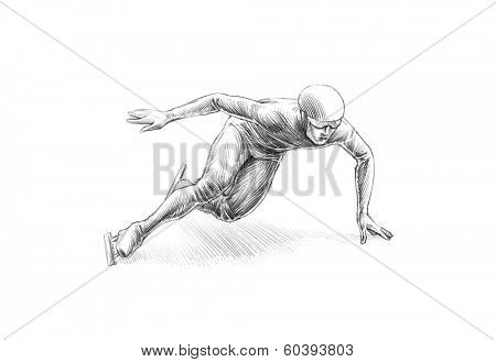 Hand-drawn Sketch, Pencil Illustration of a Short Track Speed Skater | High Resolution Scan, Decent Copy Space