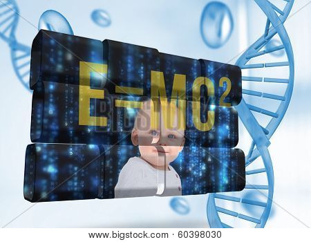 Baby genius on abstract screen against blue chromosomes on blue background