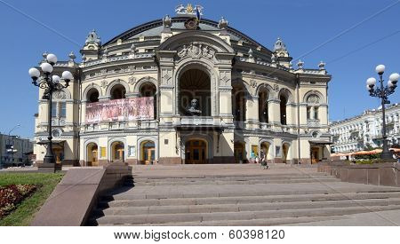 KIEV, UKRAINE - AUGUST 20, 2013: View to the National Opera House in Kiev. The building designed by Victor Schroter and opened on September 29, 1901