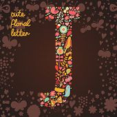 The letter J. Bright floral element of colorful alphabet made from birds, flowers, petals, hearts an