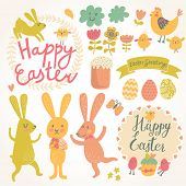 Happy easter vector set in vector. Cute rabbits, eggs, chicken, text, tasty cake in stylish colors.