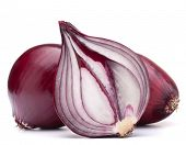 foto of half  - red onion bulb half isolated on white background cutout - JPG