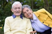 pic of elderly couple  - Beautiful portrait of an elderly couple outdoors - JPG