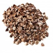 image of buckwheat  - Buckwheat heap pile close up isolated on a white background - JPG
